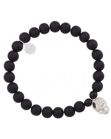 Czarna męska bransoletka onyks matowy ze srebrną czaszką