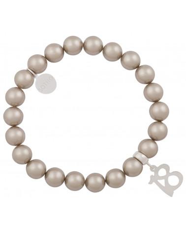 Popielata bransoletka perły SWAROVSKI® ELEMENTS ze srebrną osiemnastką
