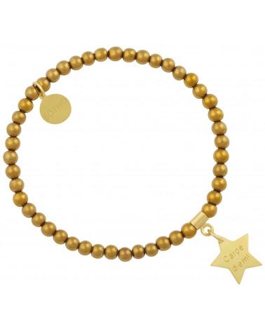 Złota bransoletka z hematytu ze złotą gwiazdką Carpe Diem