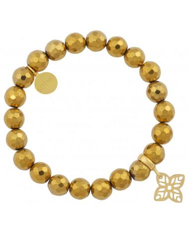 Złota bransoletka fasetowany hematyt z arabską rozetą