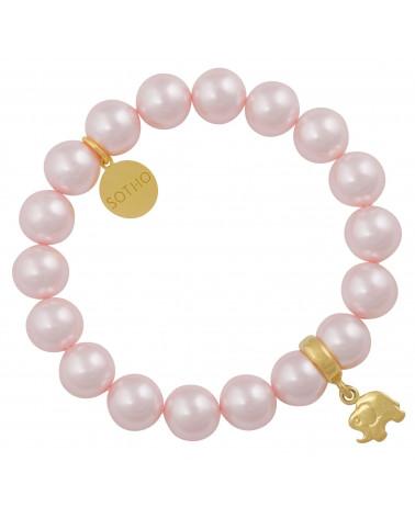 Jasnoróżowa bransoletka perły SWAROVSKI® ELEMENTS ze złotym słonikiem