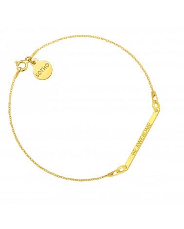 Złota bransoletka z delikatną blaszką BE AWESOME