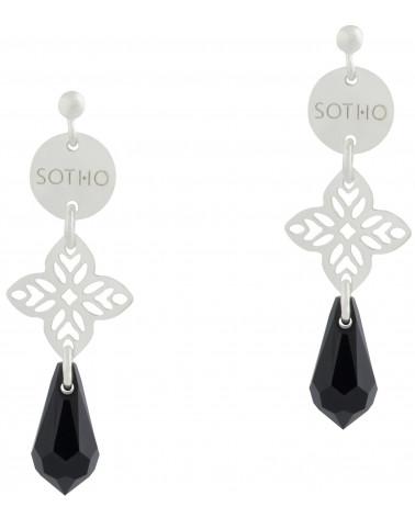 Długie orientalne kolczyki z czarnymi kryształami SWAROVSKI® ELEMENTS