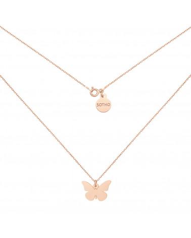 Naszyjnik z motylem z różowego złota