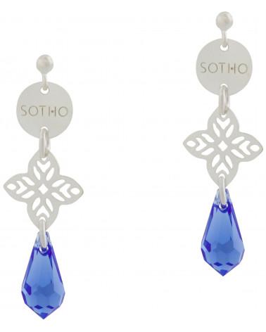 Długie orientalne kolczyki z szafirowymi kryształami SWAROVSKI® ELEMENTS