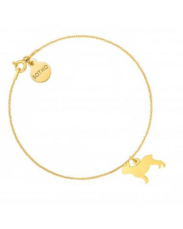 Złota bransoletka z buldogiem francuskim