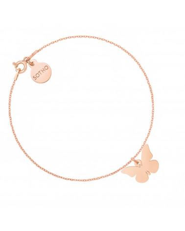 Bransoletka z motylem z różowego złota