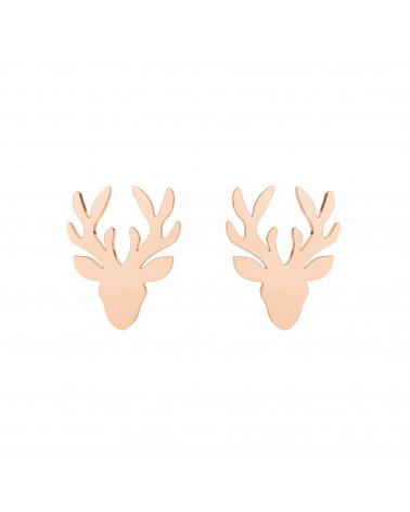 Kolczyki jelenie różowe złoto