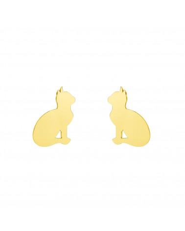 Złote kolczyki koty