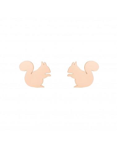 Kolczyki wiewiórki z różowego złota