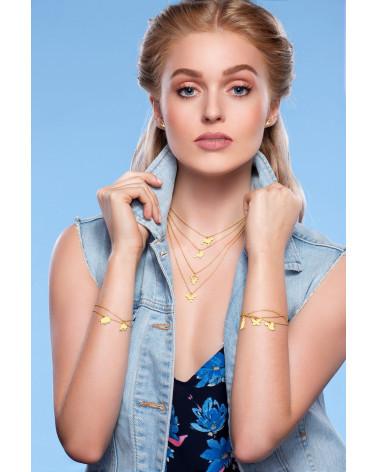 Zielona bransoletka z pereł SWAROVSKI® CRYSTAL z okrągłą rozetką z różowego złota