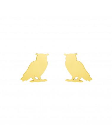 Złote kolczyki sowy