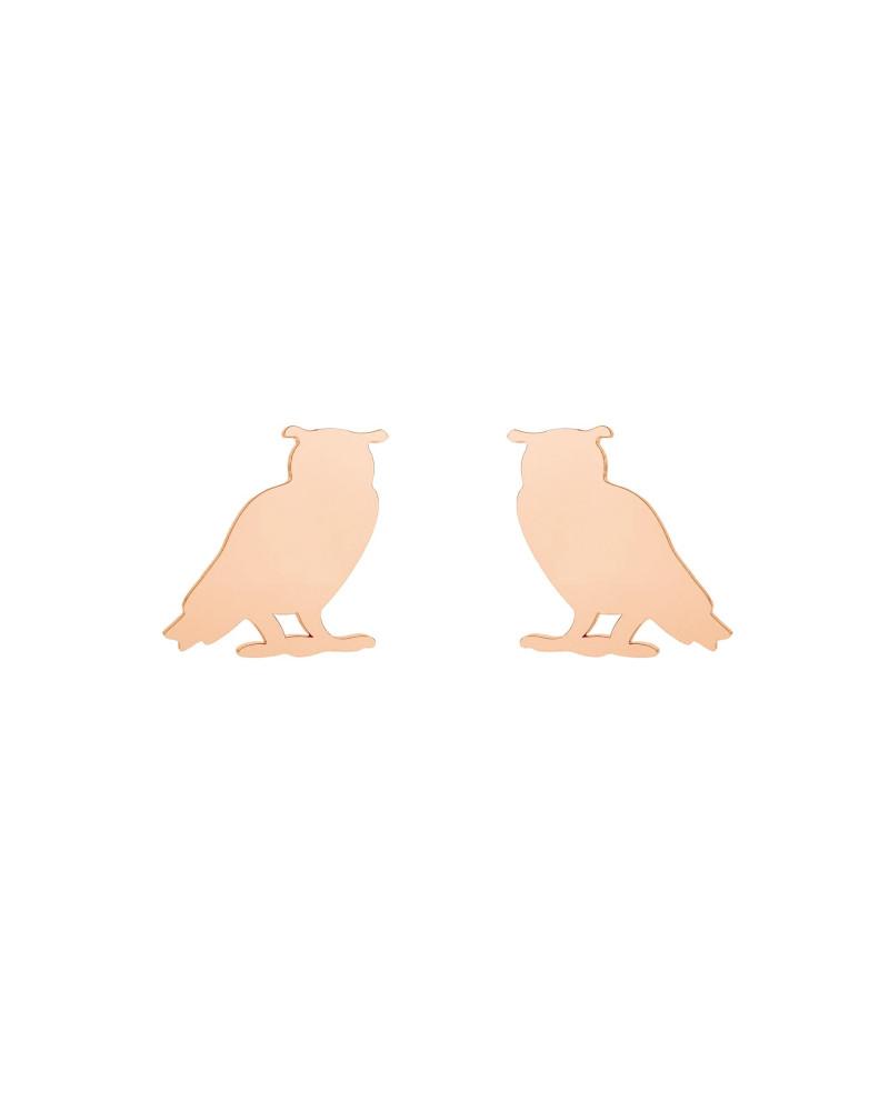 Kolczyki sowy z różowego złota