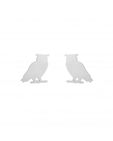 Srebrne kolczyki sowy