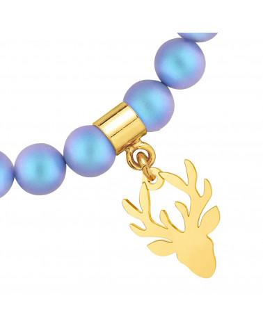 Perłowa bransoletka z pereł SWAROVSKI® CRYSTAL ze złoty jeleniem