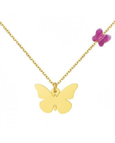 Złoty naszyjnik z motylami SWAROVSKI® CRYSTAL