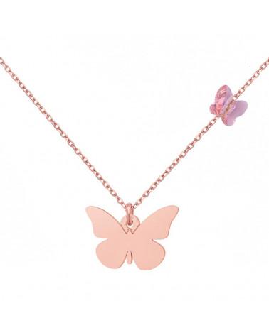 Naszyjnik z różowego złota z motylami SWAROVSKI® CRYSTAL