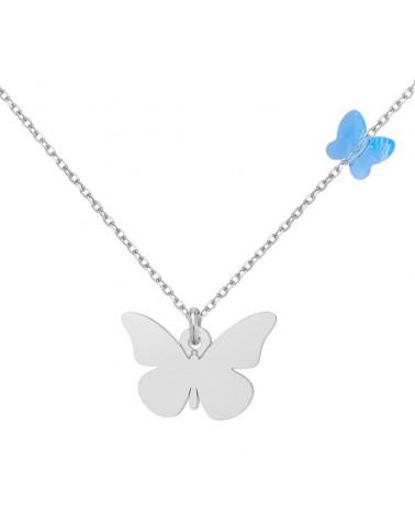 Srebrny naszyjnik z motylami SWAROVSKI® CRYSTAL