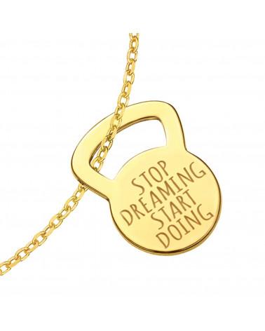 Złota bransoletka kettlebell STOP DREAMING START DOING
