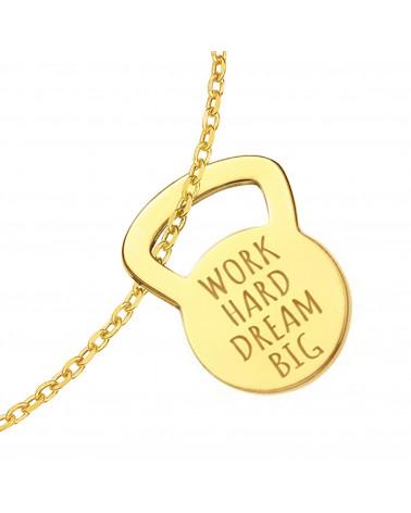 Złota bransoletka kettlebell WORK HARD DREAM BIG