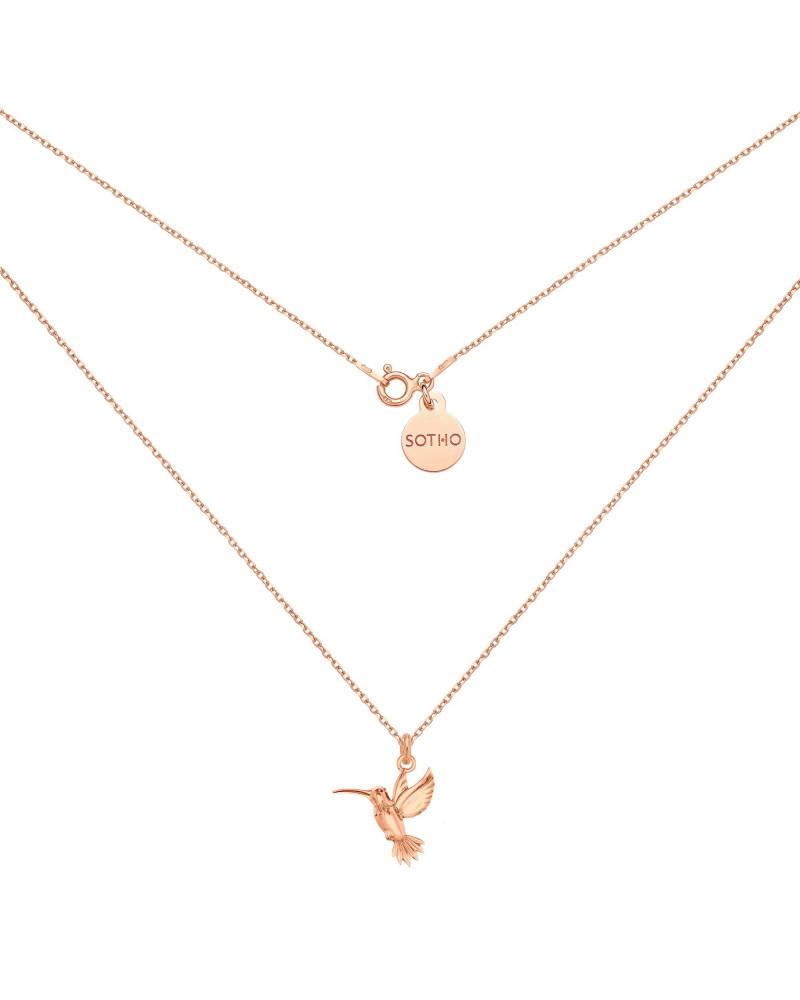 Naszyjnik z różowego złota z kolibrem