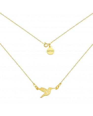 Złoty naszyjnik z ażurowym kolibrem