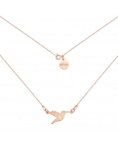 Naszyjnik z różowego złota z ażurowym kolibrem