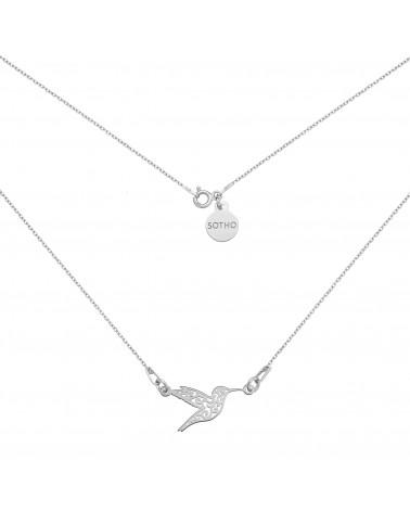Srebrny naszyjnik z ażurowym kolibrem