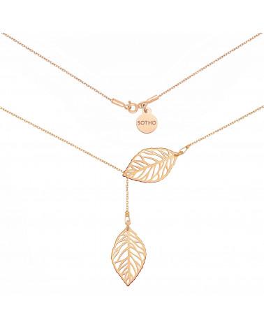 Regulowany naszyjnik z różowego złota z ażurowymi liśćmi