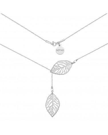 Srebrny regulowany naszyjnik z ażurowymi liśćmi