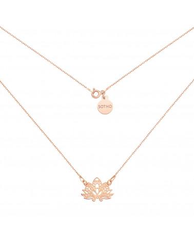 Naszyjnik z różowego złota z ażurowym lotosem