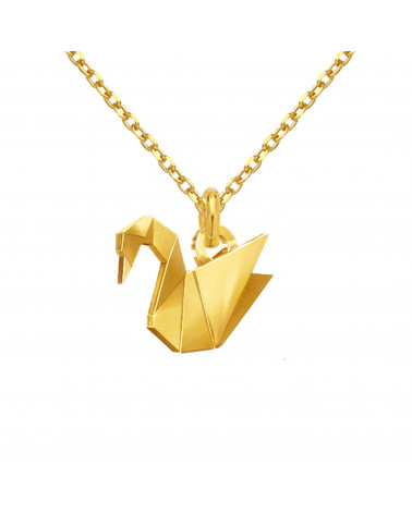 Złoty naszyjnik z łabędziem origami