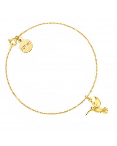 Złota bransoletka z kolibrem