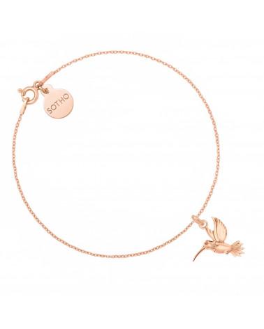 Bransoletka z różowego złota z kolibrem