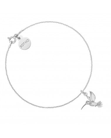 Srebrna bransoletka z kolibrem