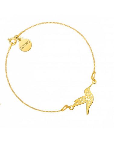 Złota bransoletka z ażurowym kolibrem