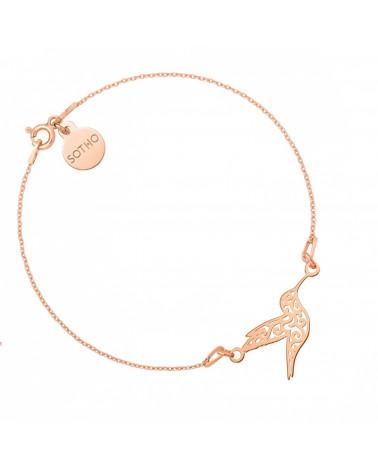 Bransoletka z różowego złota z ażurowym kolibrem