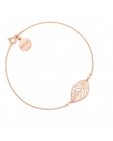 Bransoletka z różowego złota z ażurowym liściem