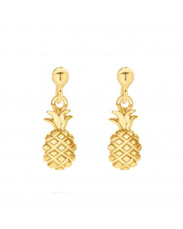 Złote kolczyki z ananasami