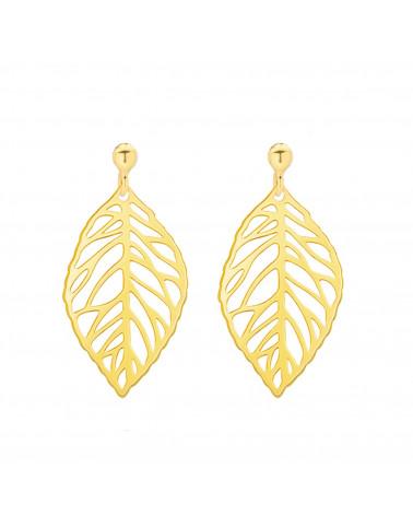 Złote kolczyki z ażurowymi liśćmi