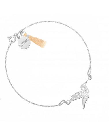 Srebrna bransoletka z ażurowym kolibrem zdobiona chwostem