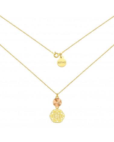 Złoty naszyjnik z rozetką i łososiowym kryształem SWAROVSKI® CRYSTAL