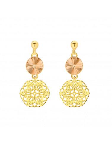 Złote kolczyki z rozetką i łososiowym kryształem SWAROVSKI® CRYSTAL