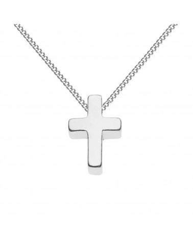 Srebrny męski naszyjnik pancerka z krzyżem