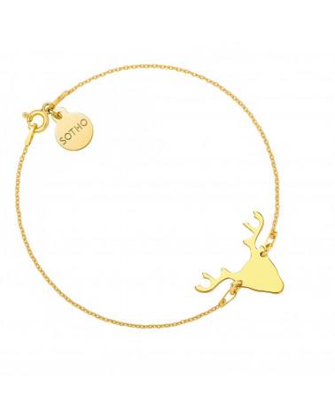 Złota bransoletka z jeleniem