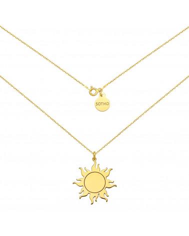 Długi złoty naszyjnik ze słońcem