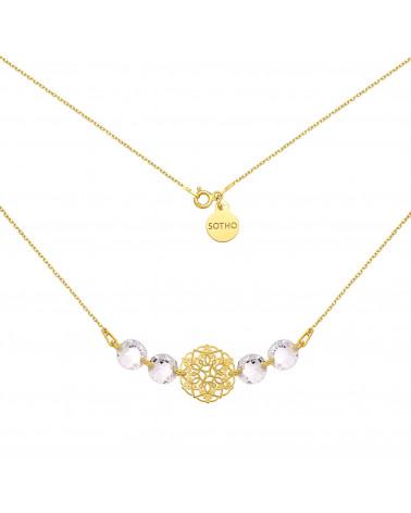 Złoty naszyjnik z rozetką i kryształami SWAROVSKI® CRYSTAL
