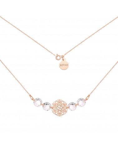 Naszyjnik z różowego złota z rozetką i kryształami SWAROVSKI® CRYSTAL