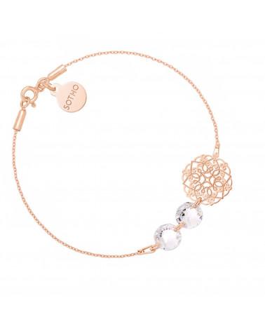 Bransoletka z różowego złota z rozetką i kryształami SWAROVSKI® CRYSTAL