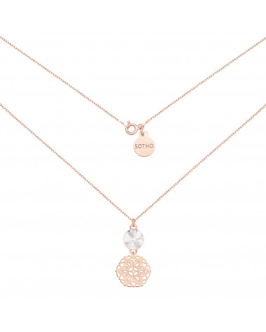 Naszyjnik z różowego złota z rozetką i bezbarwnym kryształem SWAROVSKI® CRYSTAL